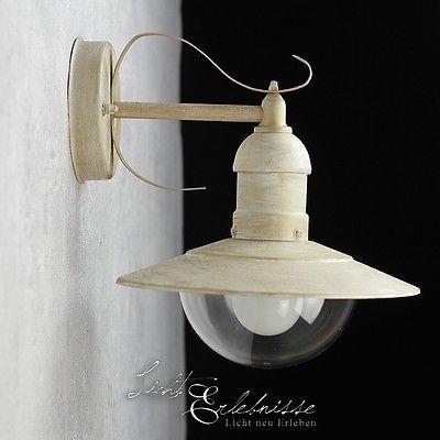 Antike Außenlampe Wandleuchte weiß-gold shabby Chic Aussen Wandlampe Beleuchtung