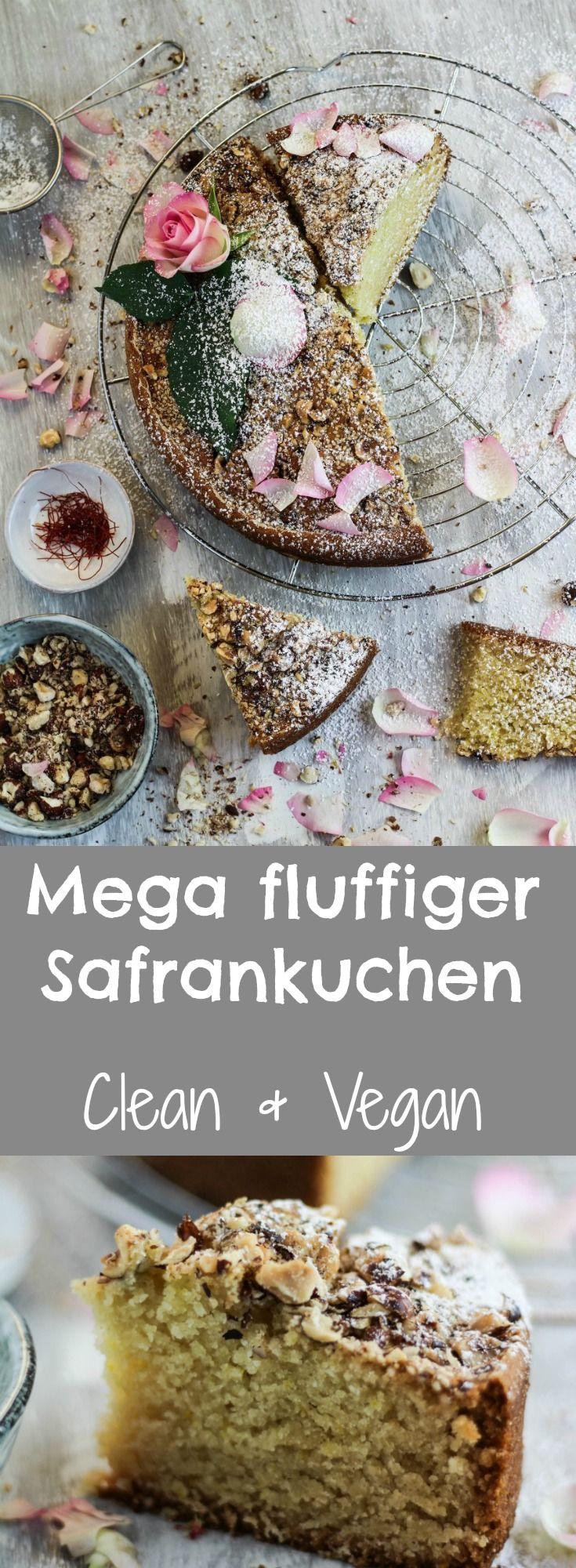MEGA FLUFFIGER VEGANER SAFRANKUCHEN, vegan backen, vegan kuchen