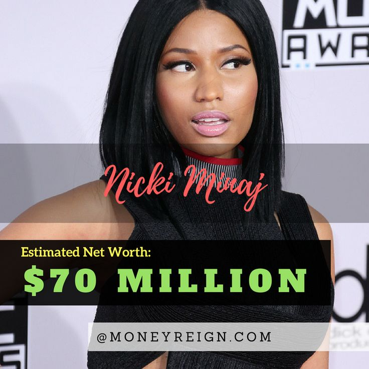 Nicki Minaj may have just started her career in the last few years, but her net worth is already more than most artists will ever dream up. Nicki currently has a net worth of more than $70 million.