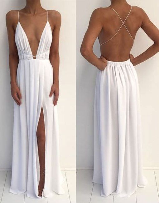 white backless long prom dress, white evening dress