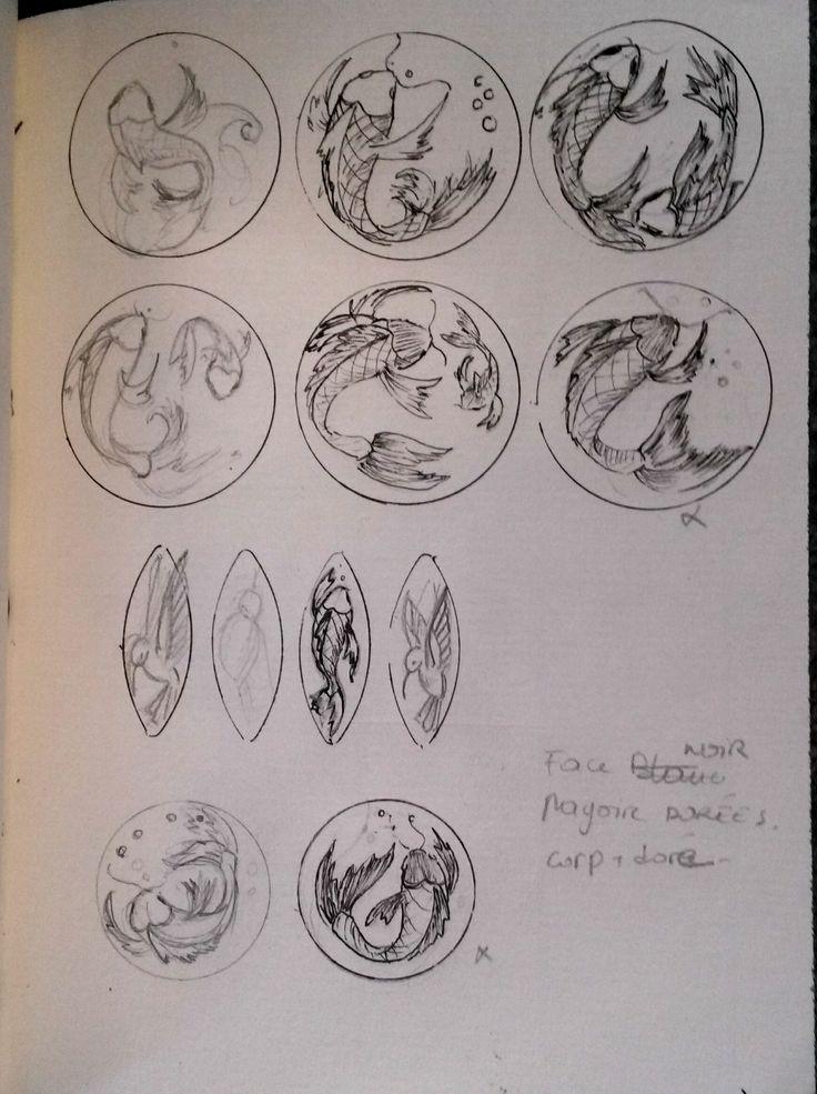 Ébauches de boucle d'oreilles sur le thème de la carpe et du colibri.