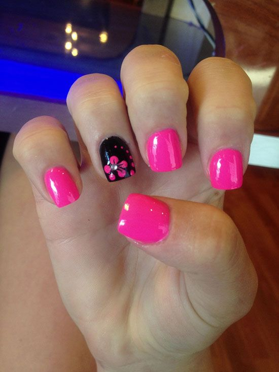Nail Ideas | Diy Nails | Nail Designs | Nail Art Bright PINK creme nail polish with accent nail,  Flower