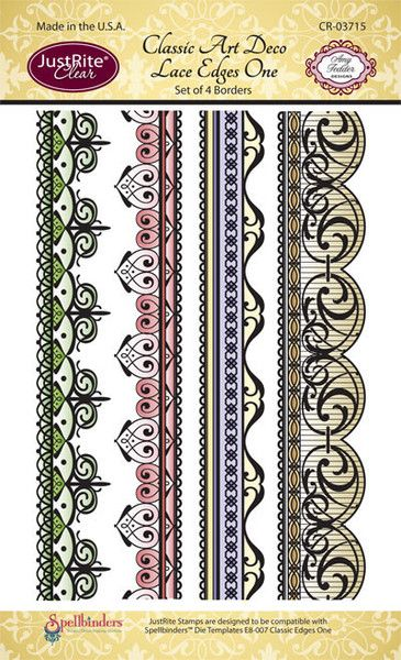"JustRite Papercraft - Classic Art Deco Lace Edges One- 4"" x 6"" Clear Stamp Set designed by Amy Tedder."