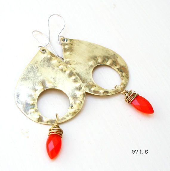 Bright Red Quartz Marquis Brass Teardrop by EVIsMetalworkJewelry, €27.00