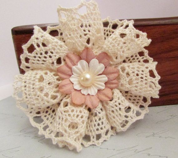 Natural Lace & Mulberry Paper Flower with Pearl Bead Centre Scrapbooking Cardmaking Brooch Pin Kids Hair Accessory Crafts Jewelry – NLMF0024