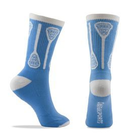 Woven Lacrosse Vertical Sticks Crew Socks - Light Blue/White (One Size Fits Most)