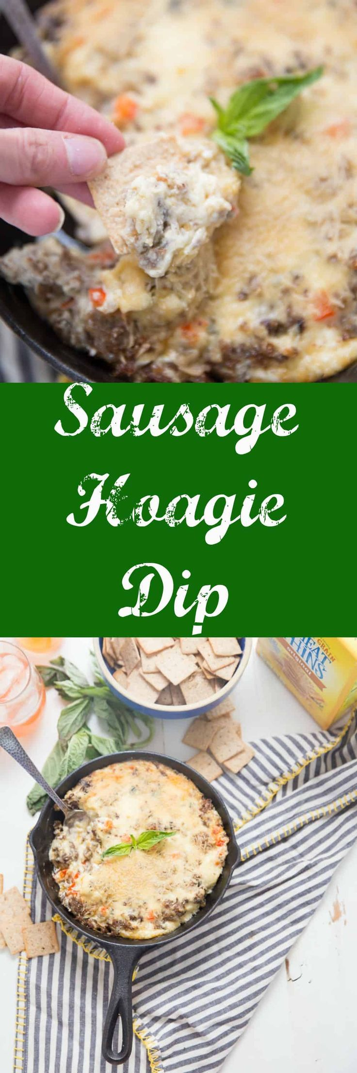 This zesty sausage hoagie dip is made with Italian sausage, three kinds of cheese and a whole lot of flavor!    This is great all-occasion party dip via @Lemonsforlulu @nabisco
