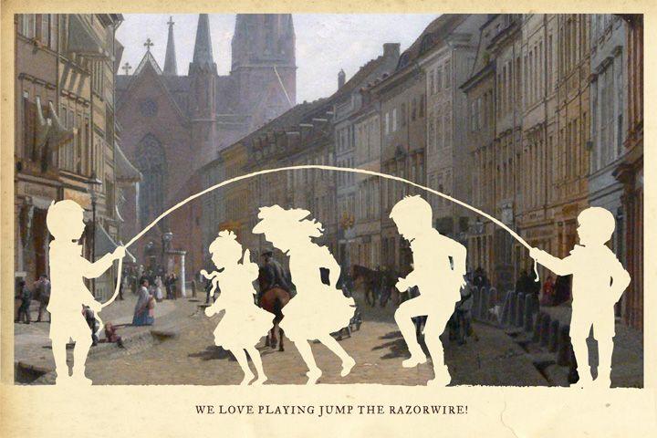Jump The Razorwire silhouette art by Wilhelm Staehle
