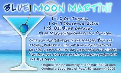 Blue Moon Martini Recipe | The Blue Moon Martini - A Blue Tequila Cocktail