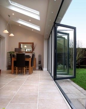 Indoor/ outdoor connection. Bifolds from living space. Skylight
