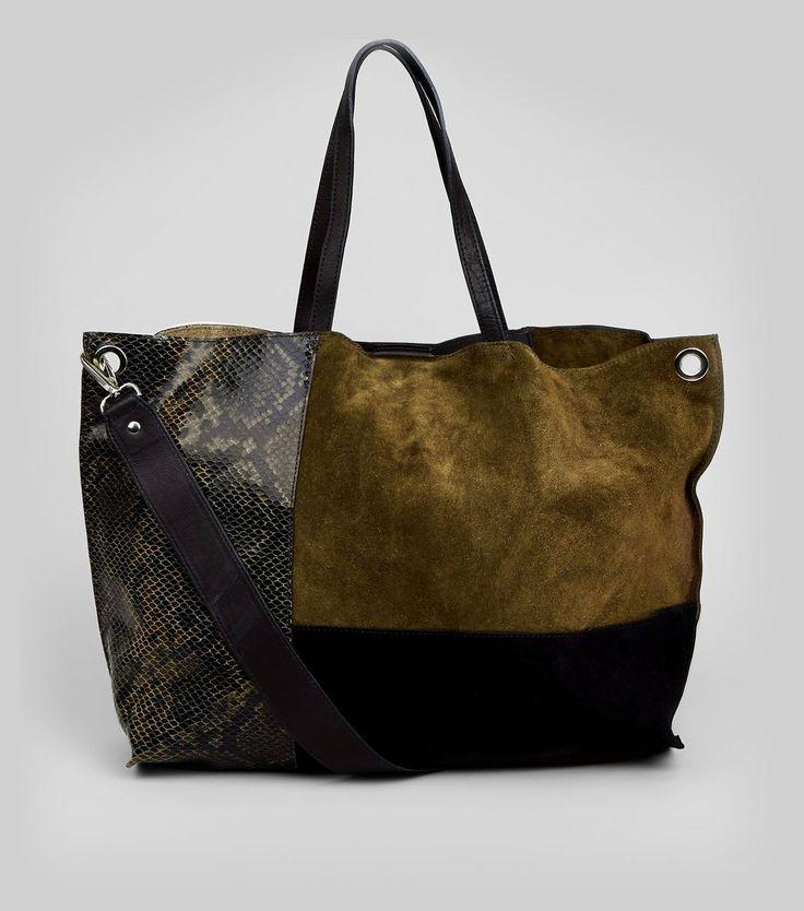 Khaki Suede Colour Block Tote Bag   New Look