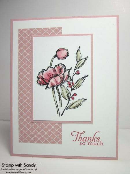 Such a pretty thank you card! Never thought of using those two stamps together like that.