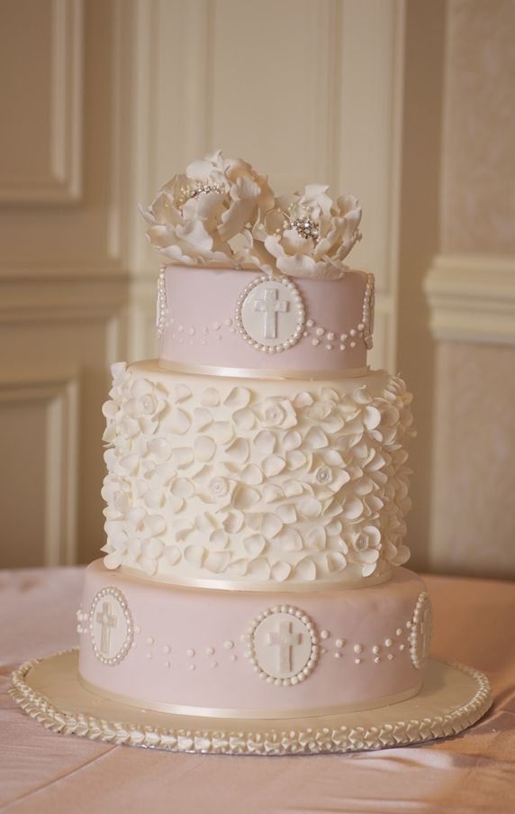 Amazing Pale Pink Christening Cake Picture | Christening Cakes, Elegant Cakes, Flower Cake, Pink Cakes | Beautiful Cake Pictures