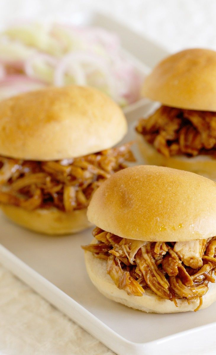 Wow! This #Recipe looks good. Pulled Chicken Sliders with BBQ Sauce and Pickled Slaw.