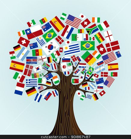 Flags of the World tree  - great idea for kindergarten display, nationalities of children/teachers with photos, dress, food etc.