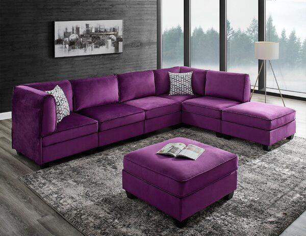 Marcie 120 Wide Velvet Reversible Modular Corner Sectional With Ottoman Modular Sectional Sectional Velvet Sofa Set