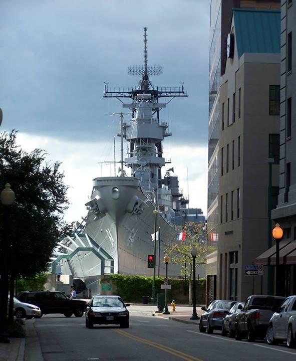 Ship on the Street : Museum Ship USS Wisconsin in Norfolk, Virginia, USA.