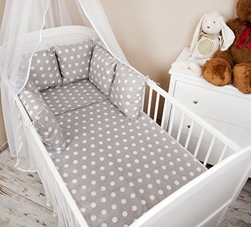 Baby Cot Bumper - Bed Border 210 cm Design: Grey Polka-Dots - Cot Bumper, Corner Protector, Head Protector for Crib zieba http://www.amazon.co.uk/dp/B00UMEML92/ref=cm_sw_r_pi_dp_0qcLwb0CXPQHN