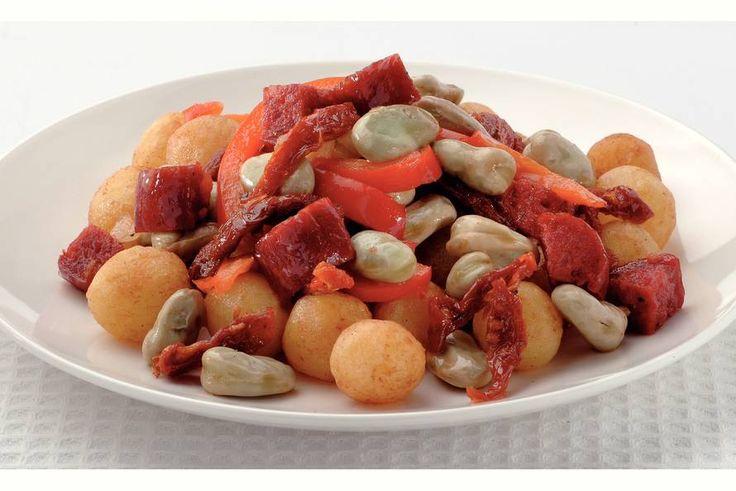 Kijk wat een lekker recept ik heb gevonden op Allerhande! Spaanse tuinboontjes met gebakken kriel