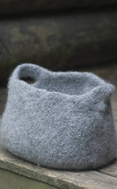 Felted basket for knitting supplies