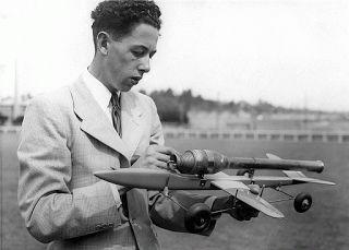 1948. David Jacobs with David Reynolds Dynajet C/L model at York Park, Launceston, Tasmania.