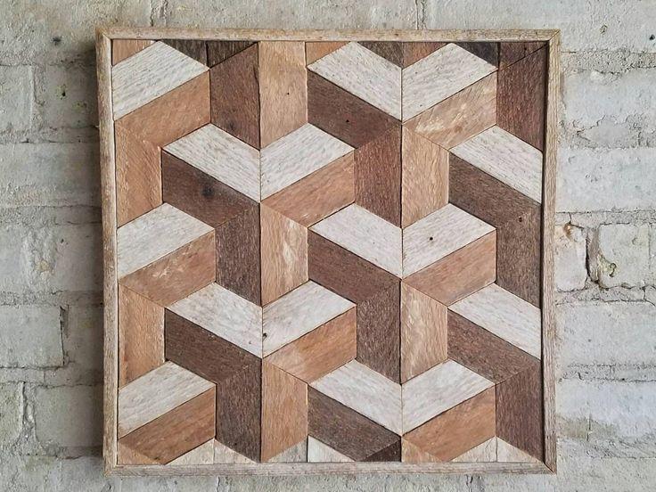 Teruggewonnen hout Wall Art Decor lat. geometrische patroon