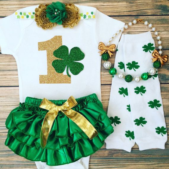 First Birthday Outfit/Lucky Charm /St Patricks by BabyTrendzz