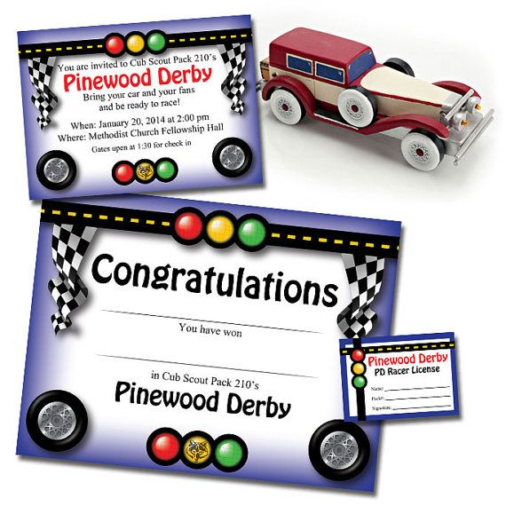 Custom Pinewood Derby Invitation Racer's by PaulConnerStudios, $5.00