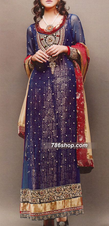 Blue Chiffon Suit | Buy Pakistani Indian Dresses