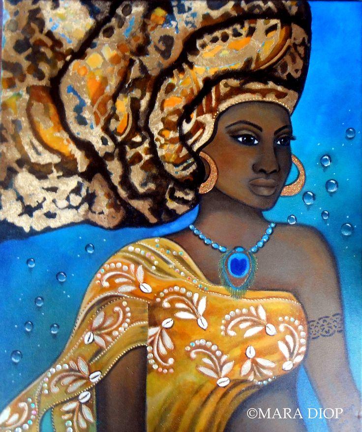 Oshun - Mixed media painting by Mara Diop
