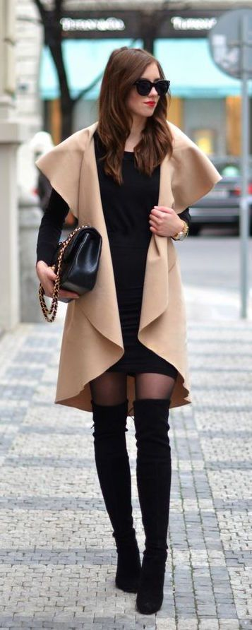#winter #fashion / camel coat + black knit dress