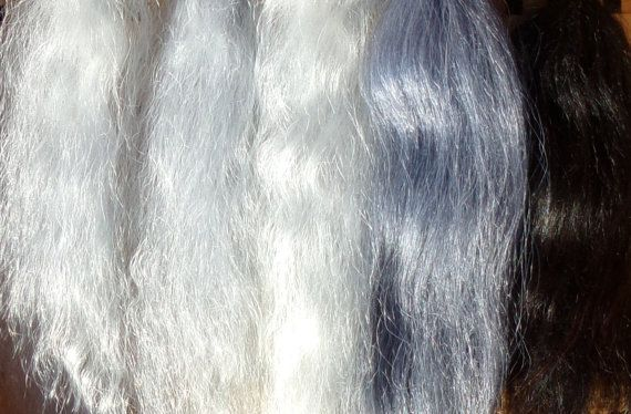 Combed Suri Alpaca Doll Hair 0.3 of an ounce 5-8 inches long Greys and Black