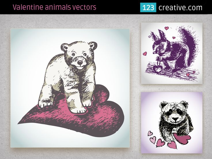 Valentine animal vectors - collection consists of 3 lovely animal illustrations: Squirrel in love illustration, Valentine ice bear and Panda bear with hearts. The illustration is isolated from background. Original motives for your next graphic work like fashion design (T-shirt, handbag, scarf...), paper print materials, lovely design for girls Valentine cards: Download here: http://www.123creative.com/stock-vectors-wedding-and-valentine/31-valentine-animal-vectors.html