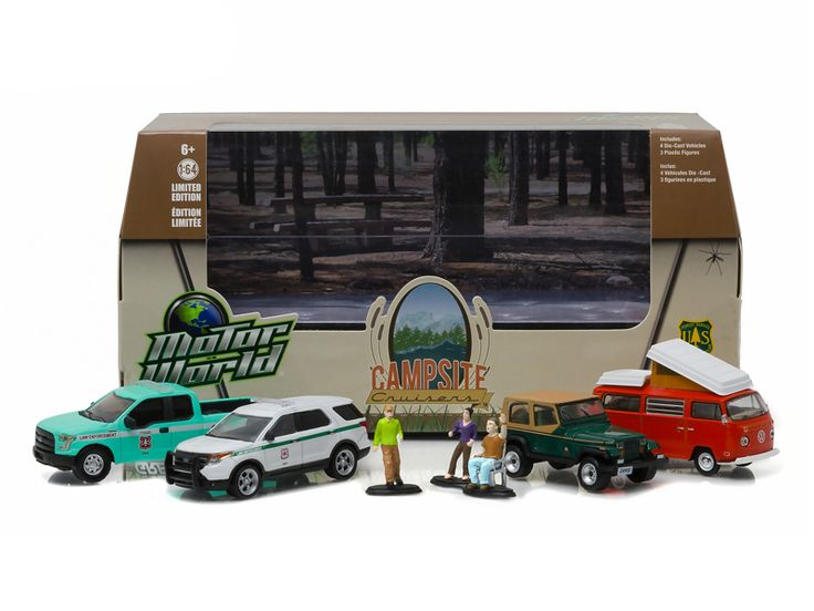 Motor World Diorama Campsite Cruisers United States Forest Service (USFS ) Edition 7pcs Set 1/64 Diecast Models by Greenlight - Brand new 1/64 scale diecast model cars Motor World Diorama Campsite Cruisers United States Forest Service (USFS ) Edition 4 Cars and 3 Figures Set by Greenlight. Limited Edition. Metal Chassis, Serialized. Authentic wheels and real rubber tires. Approximate dimensions: 3 inches long.-Weight: 3. Height: 8. Width: 15. Box Weight: 3. Box Width: 15. Box Height: 8. Box…