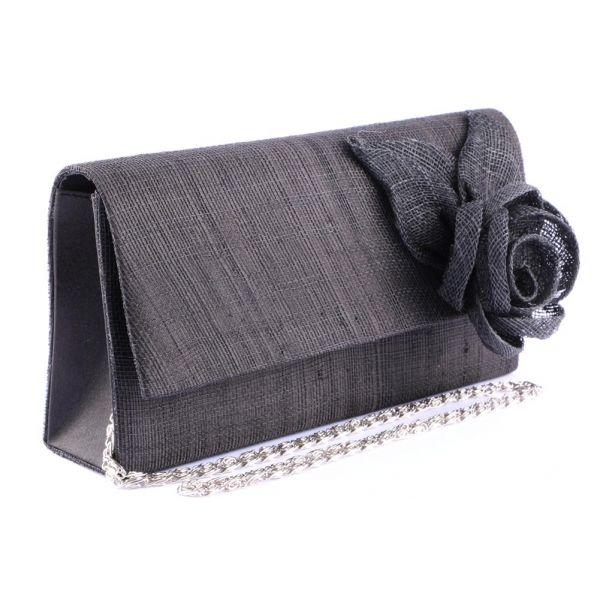 Pochette Cérémonie Arol en sisal noir Le choix #mariage #mariee sur votre boutique Headwear www.hatshowroom.com #mode #fashion #chic