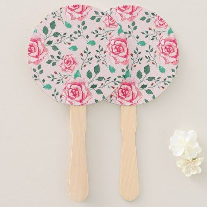 Rustic Roses & Green Foliage | Blush Pink Wedding Hand Fan - blush pink gifts unique special diy custom