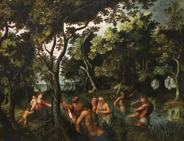 Adriaen van Stalbemt - Leto transforming the peasants of Lycia into frogs. Tags: leto, latona, artemis, apollo, apollo, transformations, metamorphoses,