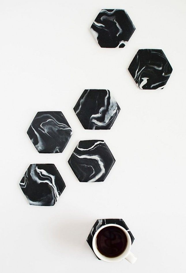 Marble hexagonal coasters 18 Modern + Minimalist DIY Decor Ideas for Aquarius via Brit + Co