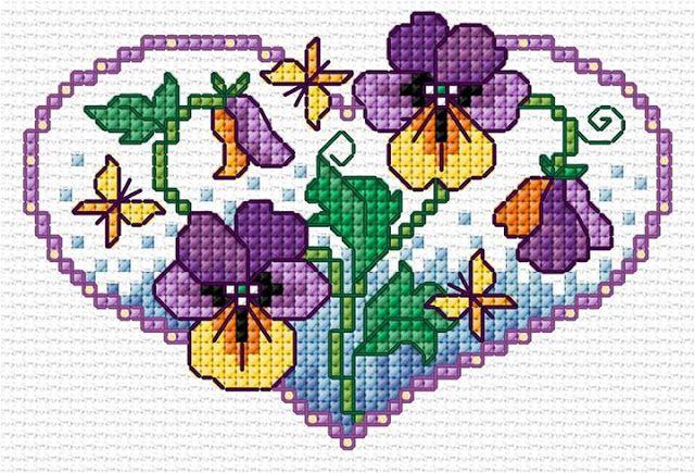 Σχέδια με πανσέδες για κέντημα / Pansy cross stitch patterns (Χειροτεχνήματα)