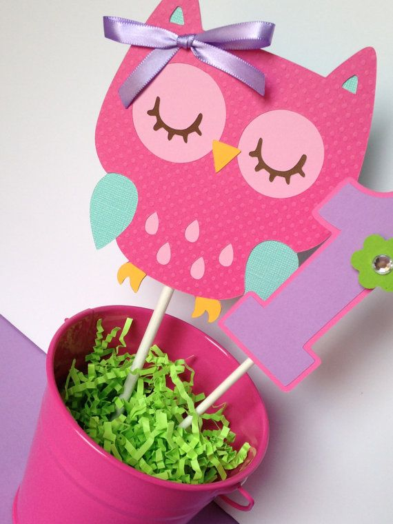 Owl Birthday Party Smash Cake Topper in Pink, Purple, Teal and Green