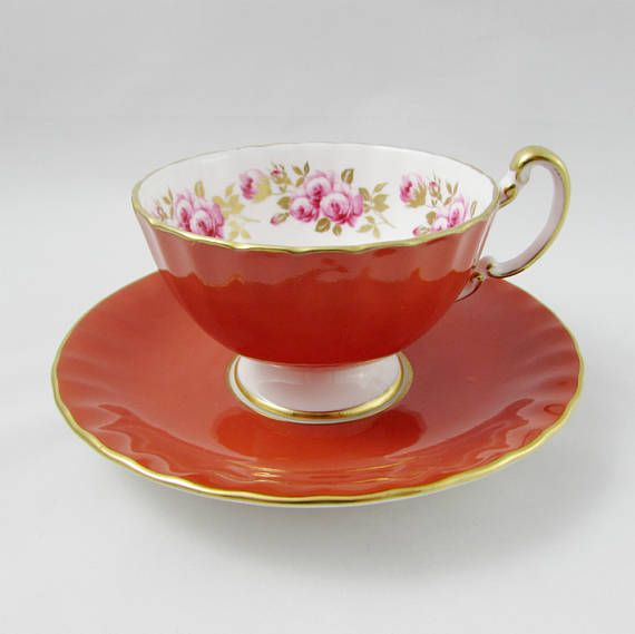 Aynsley Orange Tea Cup and Saucer with Pink Roses on the