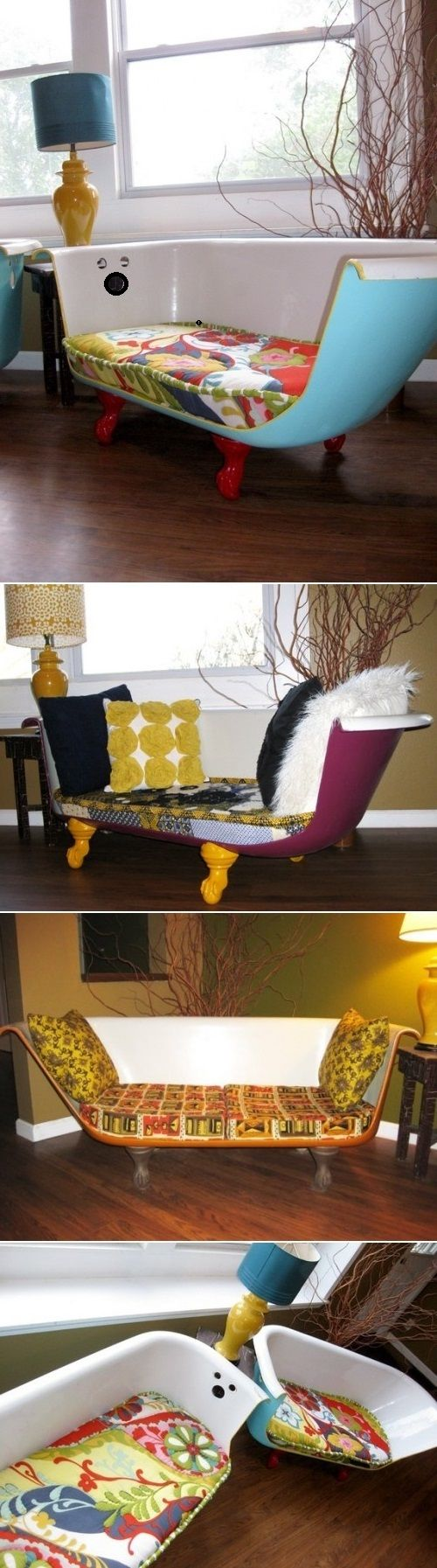 DIY Cast Iron Bathtub Couches! Yes! I wanted to do this ever since I saw it in Breakfast at Tiffany's!