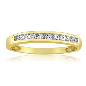 10K Yellow Gold Channel Set Diamond Anniversary-Wedding Ring (1/10ct. Available Sizes 5 to 7 1/2)