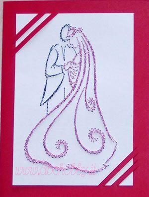 Embroidery card - Biglietto di auguri ricamato a mano per Matrimonio Partecipazioni e Inviti di Nozze   Coppia di Sposini