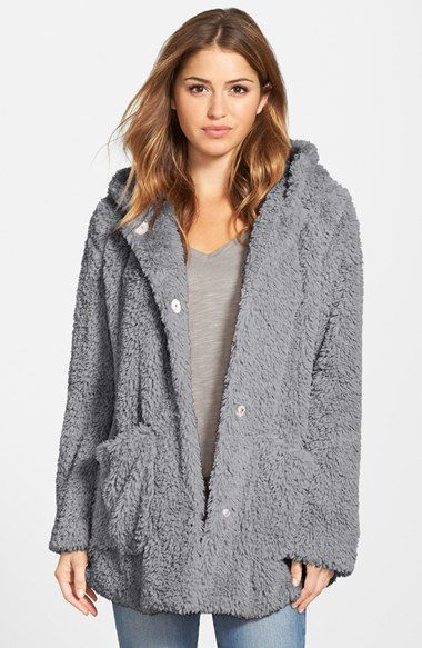 Kenneth Cole New York Teddy Bear Faux Fur Hooded Coat poly pale grey, natural szS 30L 129.90