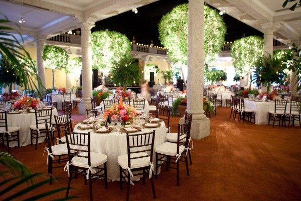 Bold Tropical Floral Reception Table Centerpieces. GORGEOUS setting.