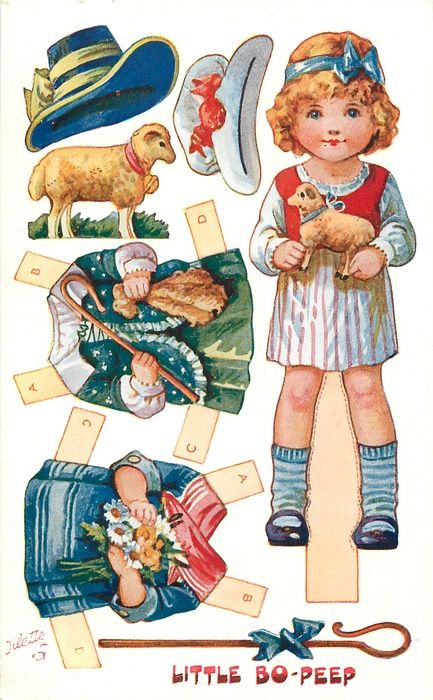 nursery rhyme paper doll - little bo peep