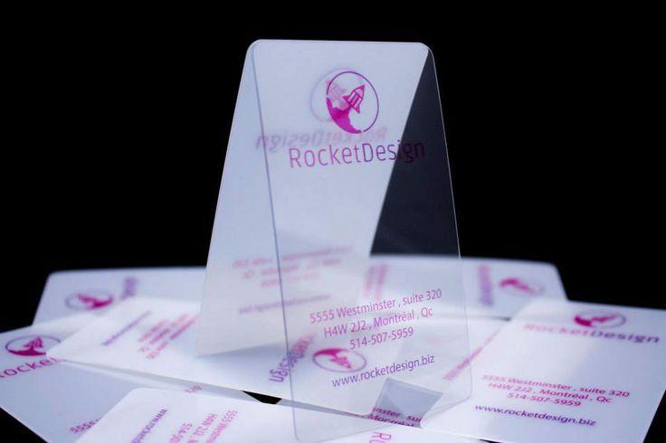 Photo of translucide business cards for  Rocket Design.