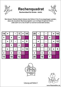 Rechenquadrat leicht - Rechenrätsel