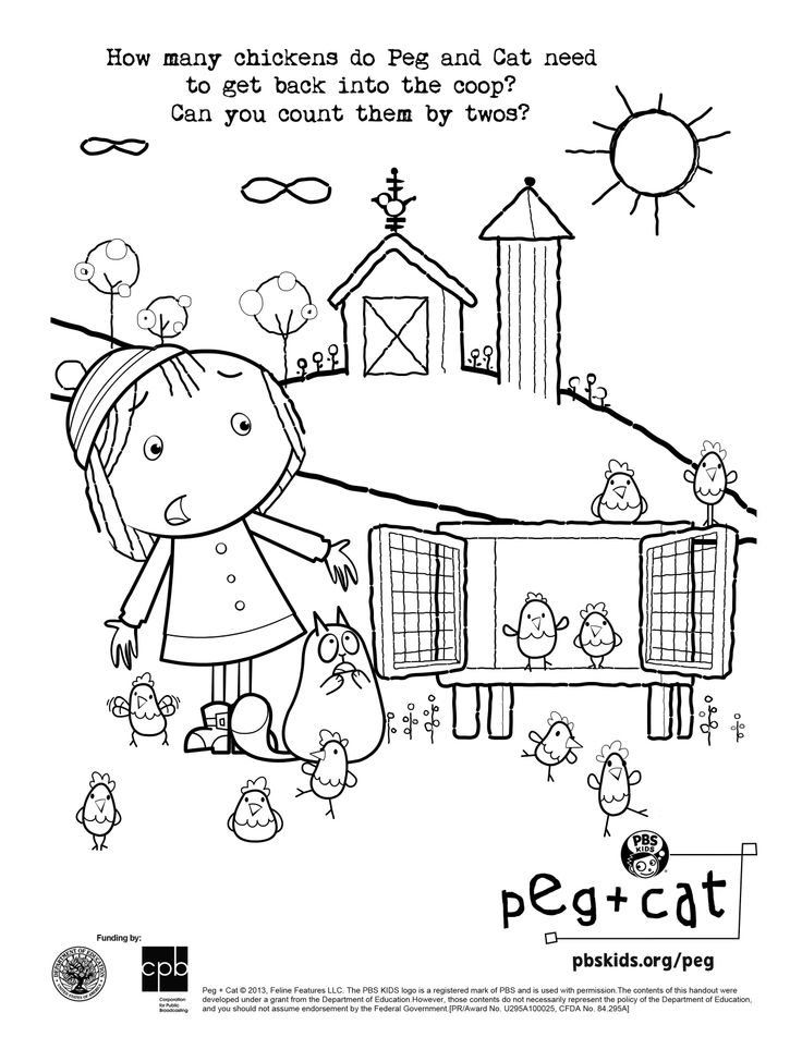 Can you help Peg + Cat count by twos? Fun coloring activity sheet!